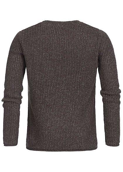 Hailys Herren Grobstrick Sweater Brusttasche bordeaux rot melange