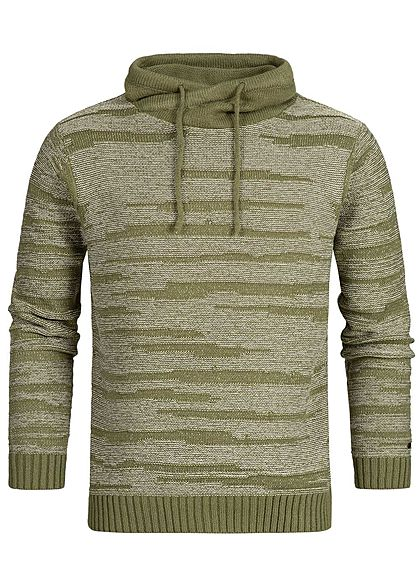Hailys Men High-Neck Sweater khaki grün weiss