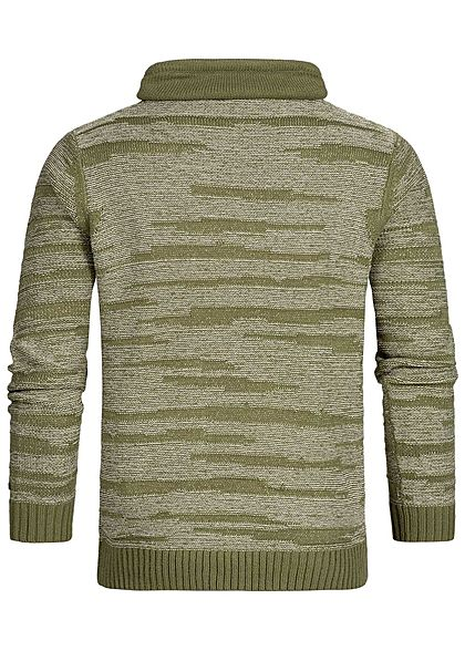 Hailys Herren High-Neck Sweater khaki grün weiss