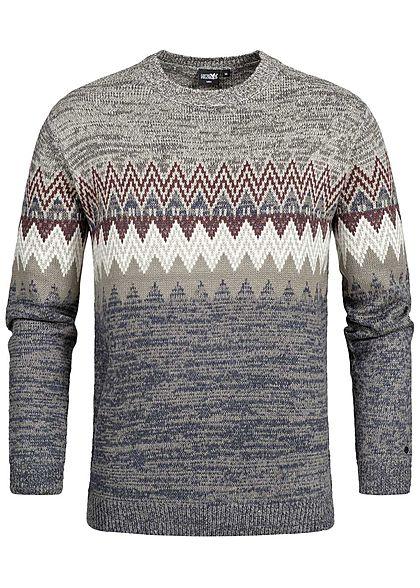 27c24a5bfc119e Hailys Men Strickpullover Sweater Zick Zack Muster grau blau rot -  77onlineshop