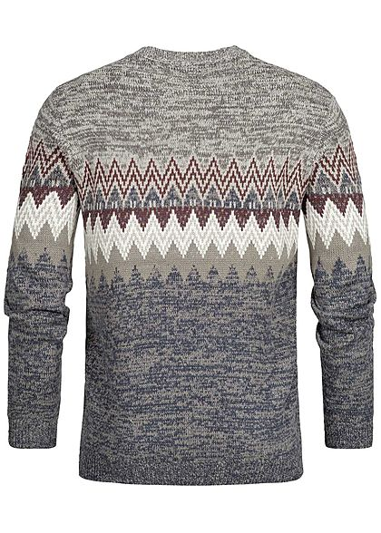 Hailys Herren Strickpullover Sweater Zick Zack Muster grau blau rot