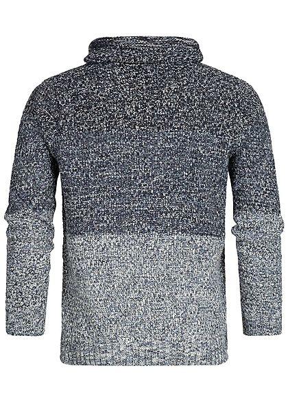 Hailys Men High-Neck Sweater 2-Tone navy blau weiss