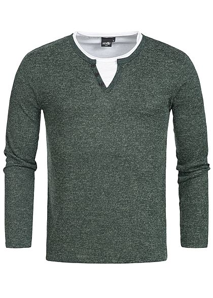 Hailys Men Longsleeve 2in1 Optik grün melange weiss