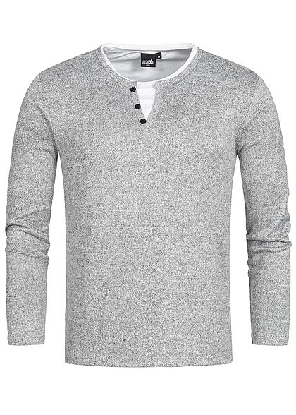 Hailys Men Longsleeve 2in1 Optik grau melange weiss