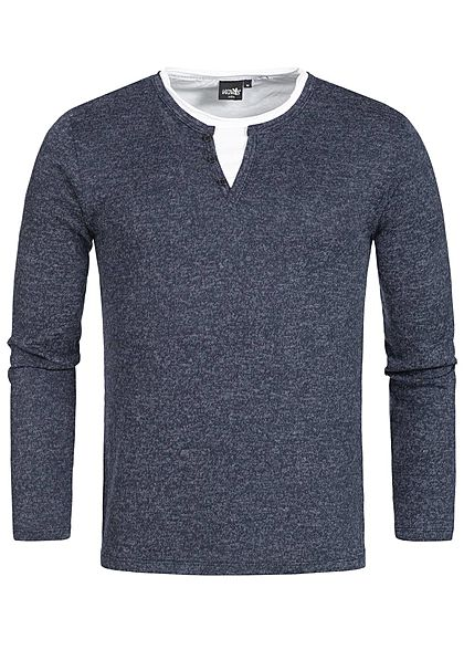 Hailys Men Longsleeve 2in1 Optik navy blau melange weiss