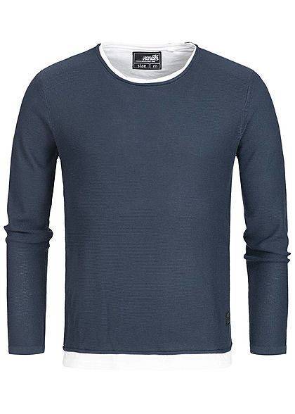 Hailys Men Longsleeve 2in1 Optik navy blau weiss