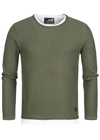 Hailys Men Longsleeve 2in1 Optik khaki grün weiss