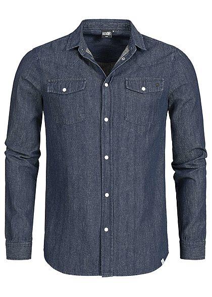 d45bdf77311389 Hailys Men Jeans Hemd 2 Brusttaschen dunkel blau den - 77onlineshop