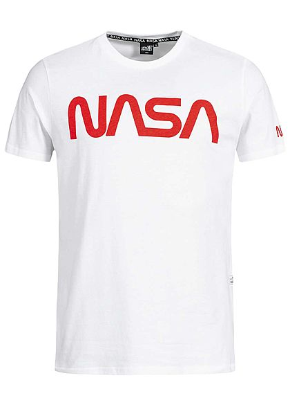 Hailys Men T-Shirt NASA Frontprint optical weiss rot