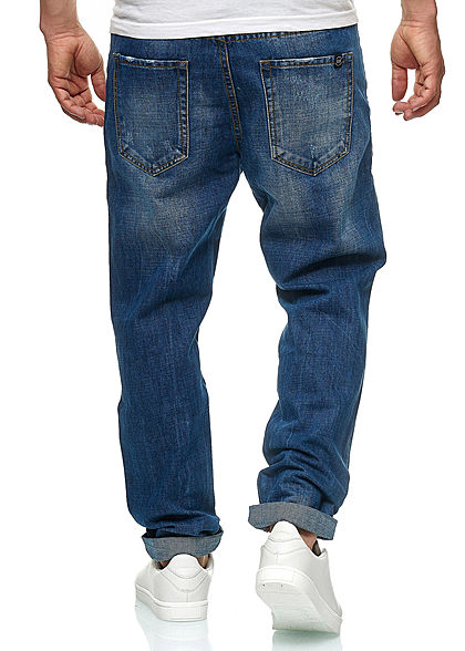 Hailys Men Jeans Hose 5-Pockets Beinumschlag dunkel blau denim