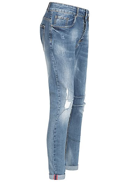 Hailys Men Relaxed Fit Jeans Hose Destroy Look 5-Pockets Beinumschlag med. blau denim
