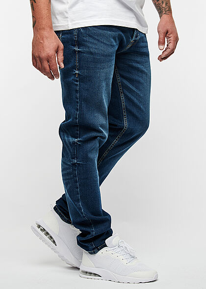 Hailys Herren Regular Fit Jeans Hose 5-Pockets dunkel blau denim