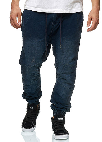 Hailys Men Relaxed Fit Jeans Hose Jogg-Pants 4-Pockets dunkel blau denim