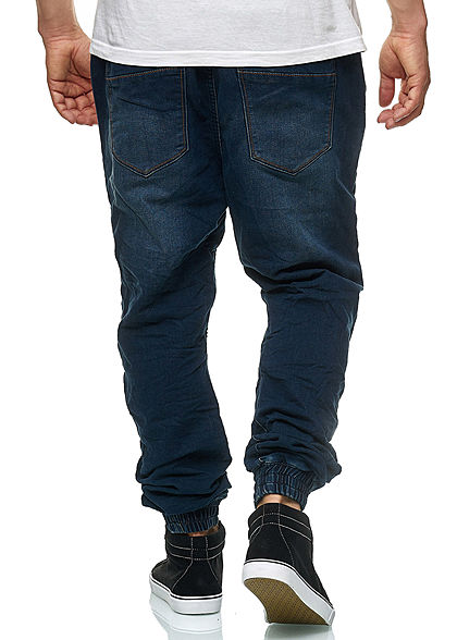 Hailys Herren Relaxed Fit Jeans Hose Sweat Pants 4-Pockets dunkel blau denim