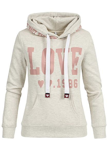 Online-Verkauf Angebot klassischer Chic Hailys Damen Hoodie Kapuze Kängurutasche LOVE Print beige rosa