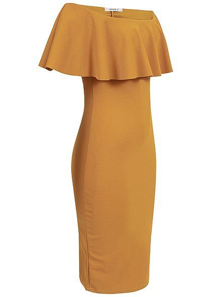 Hailys Damen Off-Shoulder Kleid mustard gelb