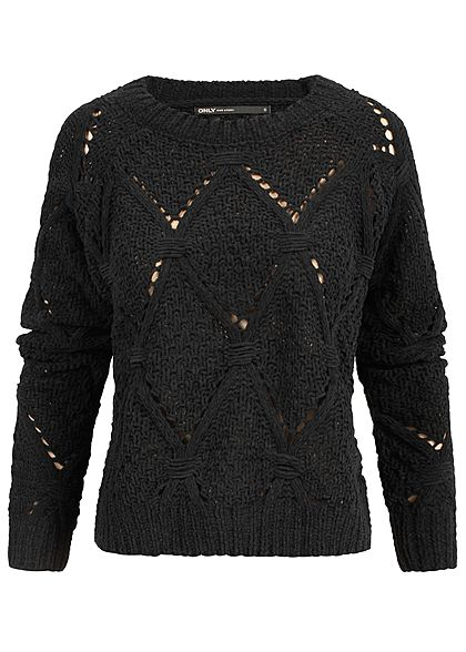 ONLY Damen Soft Grobstrick Pullover schwarz