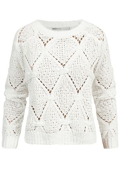ONLY Damen Soft Grobstrick Pullover cloud dancer weiss