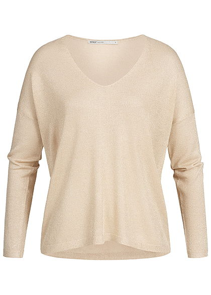 ONLY Damen Longsleeve Glitzer Allover NOOS frosted almond beige