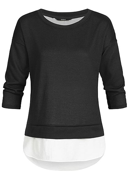 ONLY Damen 3/4 Arm Shirt 2in1 Optik schwarz weiss