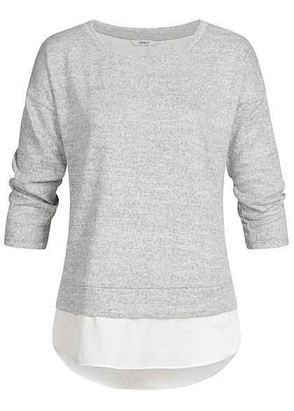 ONLY Damen 3/4 Arm Shirt 2in1 Optik hell grau melange weiss