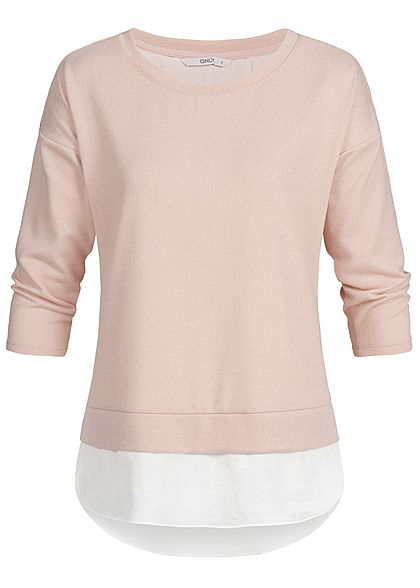 ONLY Damen 3/4 Arm Shirt 2in1 Optik misty rosa weiss
