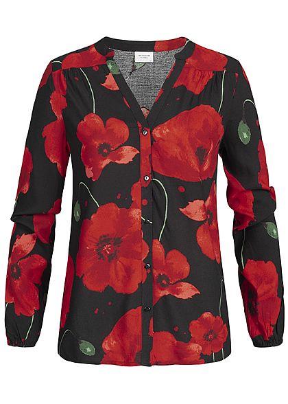 f2462a4a03bd JDY by ONLY Damen Bluse Blumen Print NOOS schwarz rot