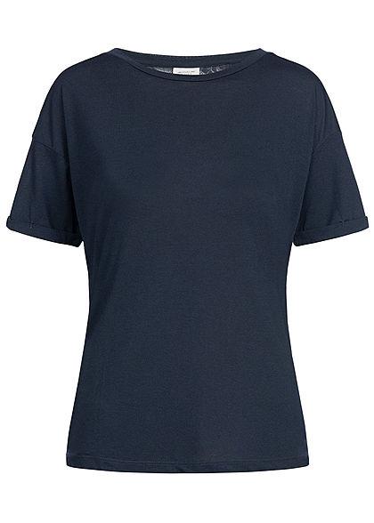 5e728f2f20ed35 JDY by ONLY Damen T-Shirt Spitze Rückfront sky captain dunkel blau -  77onlineshop