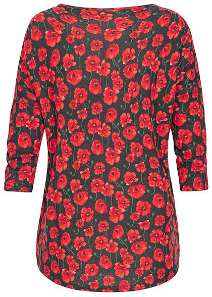 JDY by ONLY Damen 3/4 Arm Shirt Blumen Muster NOOS schwarz rot