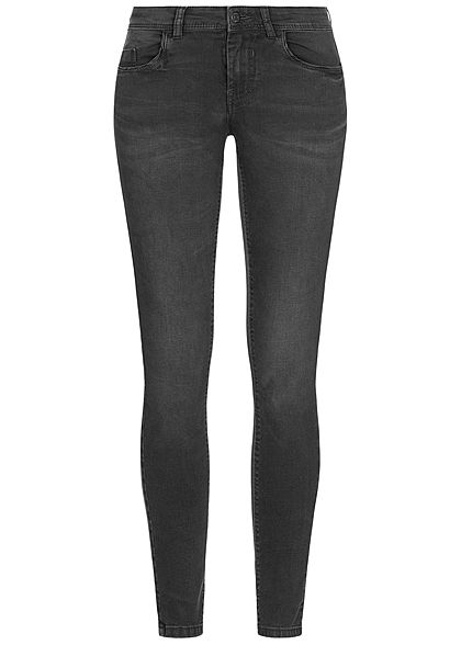 JDY by ONLY Damen Skinny Jeans Hose 5-Pockets Regular Waist dunkel grau schwarz
