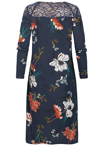 ONLY Damen Kleid Spitze oben Florales Muster night sky blau rot grün