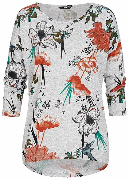 ONLY Damen 4/5 Arm Shirt Florales Muster hell grau