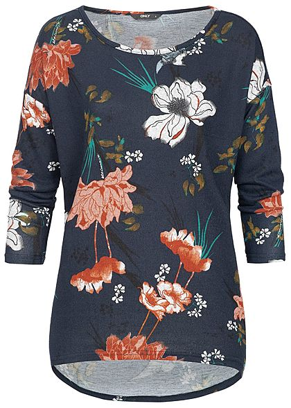 ONLY Damen 4/5 Arm Shirt Florales Muster night sky blau