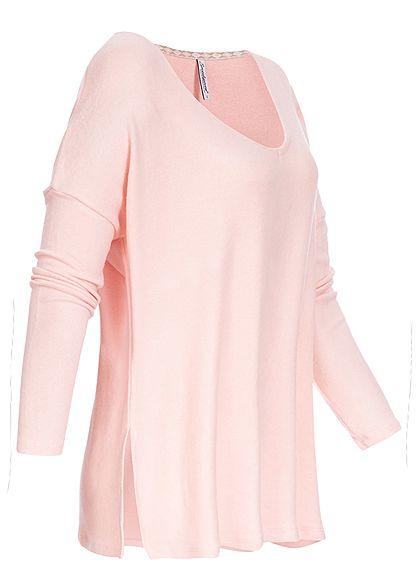 Seventyseven Lifestyle Damen Viskose Longsleeve Schlitz seitlich rosa