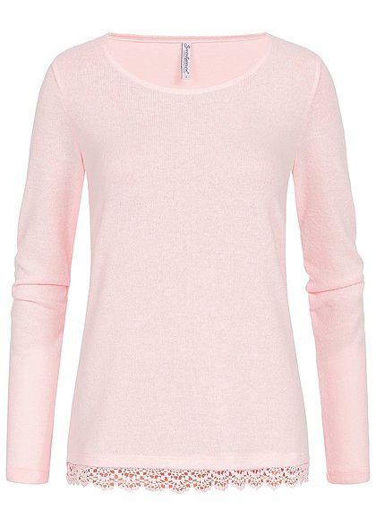 Seventyseven Lifestyle Damen Sweater Häkelbesatz am Saum rosa
