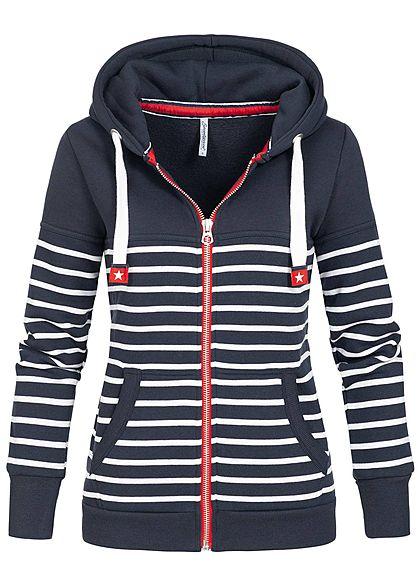 Mode-Design Schlussverkauf gut aussehend Seventyseven Lifestyle Damen Zip Hoodie Kapuze Streifen Muster navy blau  weiss