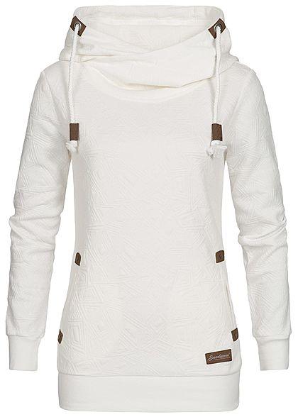 Seventyseven Lifestyle Damen Hoodie Kapuze Struktur-Muster 2 Taschen off  weiss - 77onlineshop c3eef11fd2