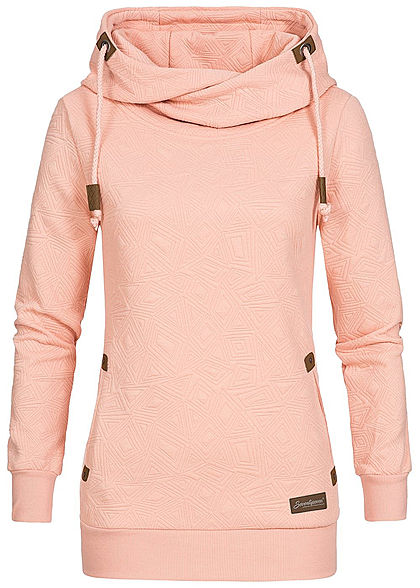 online retailer 56ed9 55ee5 Seventyseven Lifestyle Damen Hoodie Kapuze Struktur-Muster 2 Taschen rosa