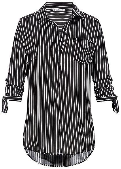 Seventyseven Lifestyle Damen 3 4 Arm Bluse Streifen Muster Brusttasche  schwarz weiss - 77onlineshop 8af3875292