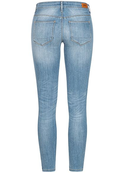 ONLY Damen NOOS Ankle Skinny Jeans Hose 5-Pockets Crash Optik Zipper hell blau denim