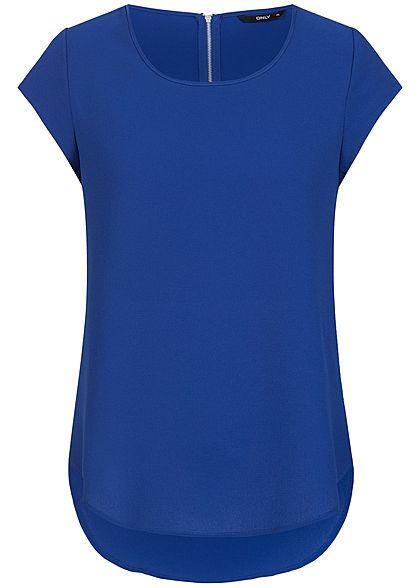 ONLY Damen Kurzarm Top Zipper hinten Struktur Muster NOOS surf the web blau