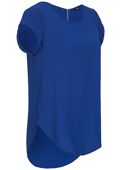ONLY Damen NOOS Blusen Shirt Strukturstoff Zipper hinten surf the web blau