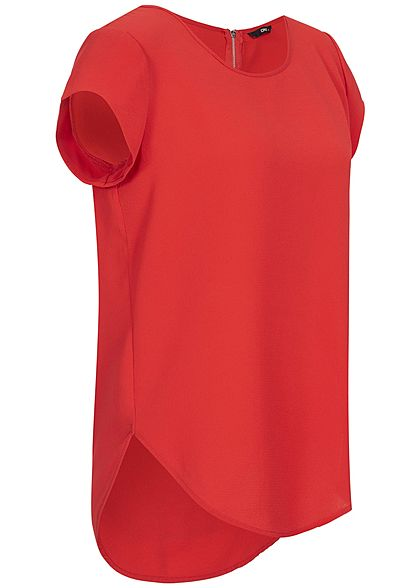 ONLY Damen NOOS Blusen Shirt Strukturstoff Zipper hinten Vokuhila high risk rot