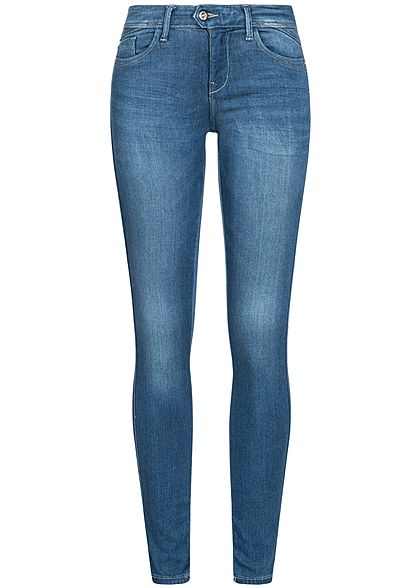 ONLY Damen Skinny Jeans Hose 5-Pockets Regular Waist NOOS medium blau denim