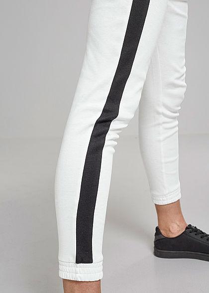 Urban Classics Damen Sweatpants Jogginghose Kontraststreifen schwarz weiss