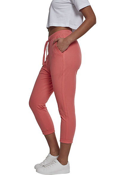 Seventyseven LifestyleTB Damen 7/8 Hose Terry Sweat Pants coral dunkel pink