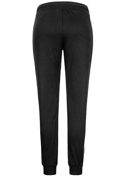 Urban Classics Damen College Hose Sweatpants Kontraststreifen schwarz weiss