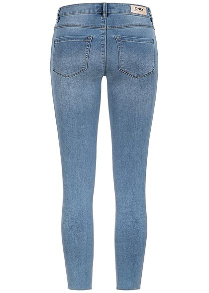 ONLY Damen Skinny Jeans Hose 5-Pockets Regular Waist medium blau denim