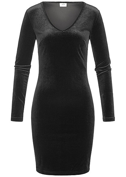 JDY by ONLY Damen Samt Kleid schwarz