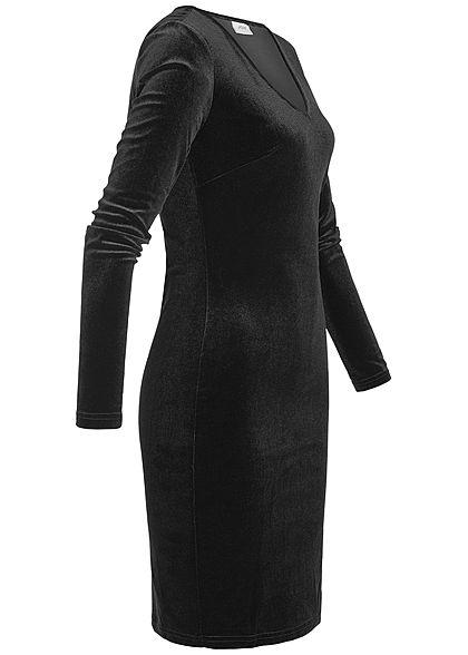 JDY by ONLY Damen Samt Kleid schwarz